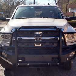 2013-18 RAM 2500/3500 Diesel Front End Replacement, Smooth Elite Series, Front Park Assist Bumper, Horizontal Bars, Receiver